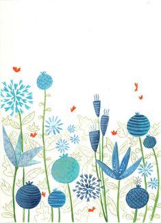 Blue flowers red butterflies