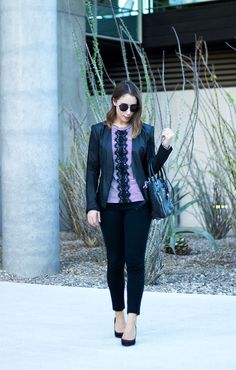 Stripes & Lace | Business Casual | Clothes & Quotes. Stiped top with lace+black pants+black pumps+black blazer+black handbag+sunglasses. Fall Casual Business Outfit 2016