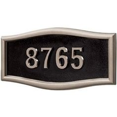Gaines Address Plaques: Black with Satin Nickel Housemark Large by Gaines Manufacturing. $128.00. Gaines Address Plaques: Black with Satin Nickel Housemark Large Roundtangle Address Plaques Commercial Mailboxes, Garden Plaques, Address Plaque, Trim Color, House Numbers, Outdoor Gardens, Clock, Satin, Outdoor Decor
