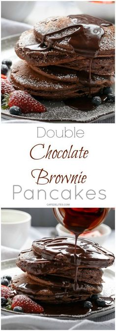 Double Chocolate Brownie Pancakes   http://cafedelites.com