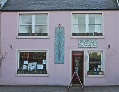 """Readinglasses, a bookshop and cafe/restaurant in Wigtown, Scotland, UK. Wigtown is Scotland's National Booktown. The """"book town"""" model was created in the 1960s by Richard Booth (Hay-on-Wye, Wales). Many other booktowns and villages have emerged around the world since then."""