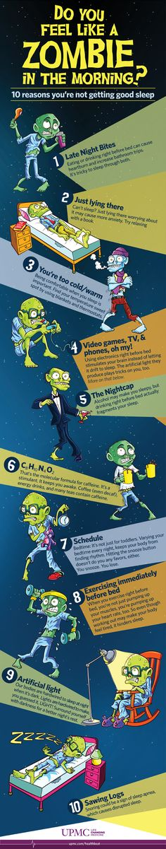 10 Reasons You Feel Like a Zombie This Morning. Feeling like a zombie this morning? Discover ten reasons you may be getting poor sleep and find out how you can get better sleep.