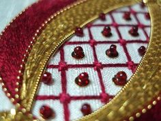Golden Pomegranate - silk goldwork embroidery project by Mary Corbet, originally designed by Margaret Cobleigh. Jacobean Embroidery, Tambour Embroidery, Hand Embroidery Designs, Ribbon Embroidery, Embroidery Thread, Cross Stitch Embroidery, Embroidery Patterns, Medieval Embroidery, Lesage