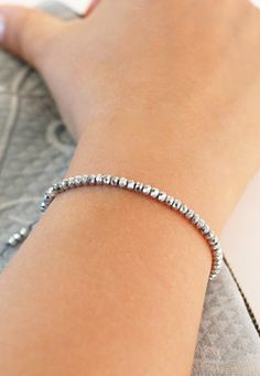 Super silver sparkle bracelet. Simple fun piece of jewelry to wear. Awesome  sparkler for a dressy night out.