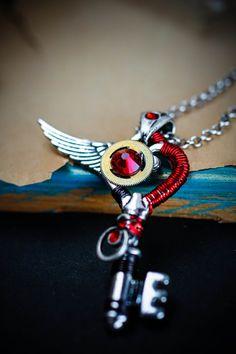 Phoenix  Red & Silver Steampunk skeleton key by DevilsJewel, $40.00