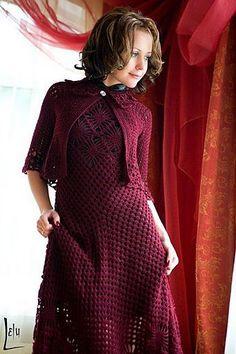 Bellissimo e elegante abito per sera! Occorre 600 gr di filato, uncinetto №3. Schema