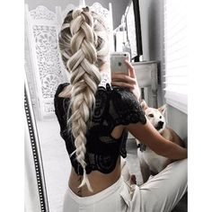 Love this colour! Bleach 'white' blonde with long dark roots! it looks... ❤ liked on Polyvore featuring hair and braids