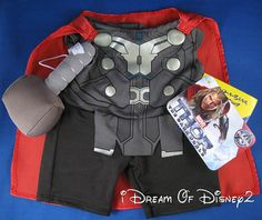 BUILD-A-BEAR RETIRED AVENGERS THOR COSTUME & HAMMER TEDDY CLOTHES OUTFIT NWT #BuildABearWorkshop