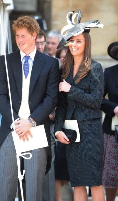 Prince Harry and Prince William's girlfriend Kate Middleton watch the Order of the Garter procession at Windsor Castle, Windsor, England, June 16, 2008