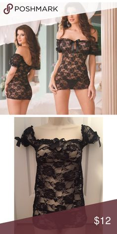 Sexy Black Stretch Lace Babydoll & Thong Set Includes Black Stretch Lace Babydoll with Bows & Matching Thong, New in Packaging, One Size (Fits XS, S, M, & L) Intimates & Sleepwear Chemises & Slips