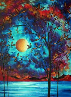 ARTIST:  Megan Duncanson  This is an enormous whimsical, original painting in beautiful, bold contrasting shades of gorgeous turquoise, aqua, teal, brilliant crimson red and vibrant yellows with violet and mauve accents. The golden moon and blossoms create depth and contrast against the background and black trees - Images are available for art licensing across all product categories. Original paintings available at http://www.madartdesigns.com ~