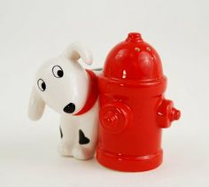 """Dalmatian with Hydrant Salt & Pepper Shaker Set By 180 Degrees by One Hundred 80 Degrees. $13.88. Ceramic. Magnetic. When your picnic has gone to the dogs, you might as well join the fun. This delightful salt and pepper shaker set is joined together by small magnets - simply pull them apart and season with spot or the hydrant...to taste. Made of high-fired ceramic and individually gift boxed. 2.75"""" tall. Not intended for use in the microwave. Hand wash only."""