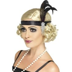Ladies 1920s Charleston Black Satin Feather Headband