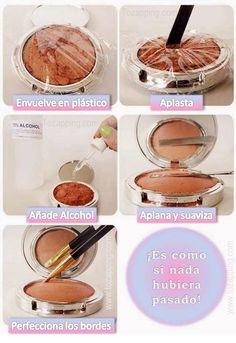 Cómo reparar polvos de maquillaje rotos. Se te cae la cartera, o el envase donde vienen las sombras de maquillaje y se rompen. La solución es simple y las