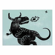 KESS InHouse Anya Volk 'Fire Monster' Blue Illustration Dog Place Mat, 13' x 18' >>> Unbelievable dog item right here! : Dog food container