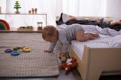 Low Montessori Floor Bed for Toddlers – Sprout Baby Floor Bed, Toddler Floor Bed, Bed For Baby, Floor Beds For Toddlers, Baby Boys, Montessori Toddler Rooms, Montessori Bedroom, Parents Room, Kids Room