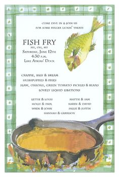Planning a fish fry menu for the fam. Minus the libations. We are Baptist after all.