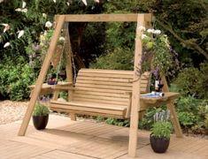 Charming simple wooden garden swing Garden Swings: The Enchanting Element in Your Backyard Wooden Garden Swing, Garden Swing Seat, Wooden Swings, Porch Swing Frame, Wooden Swing Bench, Garden Pallet, Pergola Swing, Pergola Kits, Pergola Ideas