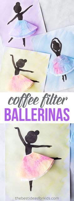 Coffee Filter Ballerina Silhouette Craft - this ballerina craft is so fun to make with kids! Easy kids craft with a free printable template. crafts for kids easy Ballerina Silhouette Easy Crafts For Kids, Toddler Crafts, Crafts To Do, Creative Crafts, Projects For Kids, Diy For Kids, Craft Projects, Craft Ideas, Baby Crafts