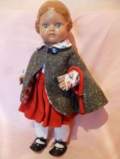 Puppe Doll Poupée braunhaarige BÄRBEL 42 cm Schildkröt sehr schöne Kleidung | eBay