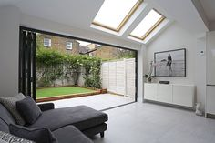 A beautiful classic pitched to hip roof kitchen extension in Tooting. The rear part of the extension was built out far enough to accommodate not only skylights down the side . Extension Veranda, Conservatory Extension, House Extension Design, Glass Extension, Building Extension, Conservatory Roof, Extension Ideas, Kitchen Diner Extension, Open Plan Kitchen Diner