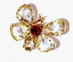 Bordinckx, Butterfly Brooch: 4 diamond wings, the Papillon's body is formed by a ruby & a pear-shaped cushion-cut diamond, gold 'trembleuse' setting. Jewels & Precious Stones: Feb 2015