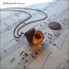 Glass Acorn Autumn Necklace - Topaz with Encased Copper Oak Leaf by Bullseyebeads