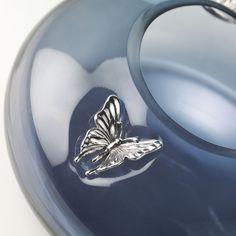 Coppa in vetro soffiato con applicazioni in argento 999 - FARFALLE  #vetrosoffiato #argentopuro #arte #design