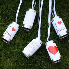 White and Silver Tin Cans For Wedding Cars