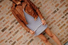 stripes and brown leather