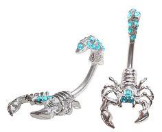 Aqua Lt blue gem Scorpion reptile 2 piece split Look like scorpian goes through Belly button navel Ring piercing bar body jewelry 14g 14 gauge playful piercings,http://www.amazon.com/dp/B00F8X9HZS/ref=cm_sw_r_pi_dp_151ftb0MTEK0QP7J