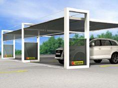 Abri voiture en acier enduit de poudre K-SHELT by Kopron