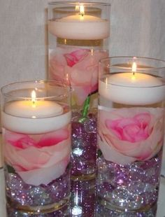 36 Piece Set Roses & Floating Candles Wedding Reception Table Centerpieces - Custom Made To Order Unique Wedding Centerpieces, Floating Candles Wedding, Wedding Reception Table Decorations, Candle Centerpieces, Wedding Flower Arrangements, Wedding Ideas, Trendy Wedding, Wedding Stuff, Centerpiece Ideas
