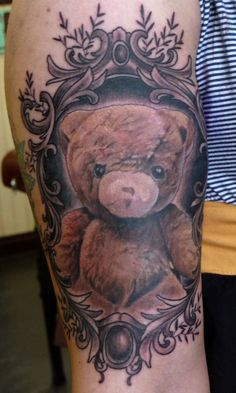 """Teddy Bear tattoo by Ryan Mason http://www.ryanmasontattoos.com/ I love this because it reminds me of my childhood teddy I named """"Oso."""" Mine was missing an eye, though."""