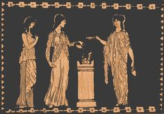 Clothing of Ancient Greek Women, ionic chitton on the far right with fibula from the shoulders to the end of wrist Ancient Greece Clothing, Ancient Greek Dress, Ancient Greek Costumes, Mark Of The Lion, Greece Fashion, Greek Clothing, Greek Art, Ancient Rome, Fashion History