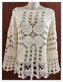 Olá amigas!   Hoje trago o último trabalho de 2016.   Uma nova criação!!   A blusa Paixão é rica em detalhes, possui motivos centrais ... Crochet Crop Top, Crochet Blouse, Crochet Poncho, Crochet Girls, Love Crochet, Crochet Baby, Boho Style Dresses, Crochet Basics, Crochet Clothes