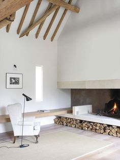 barn conversion minimal fireplace