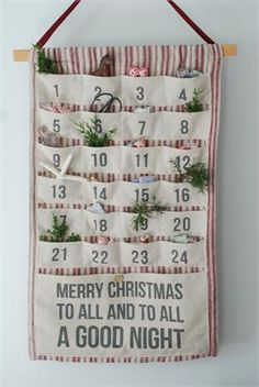 Our Vintage Style Fabric Advent Calendar with Pockets is a great way to create excitement every day of the season. Countdown the days to your country Christmas with numbered pockets to hide away tiny treats and treasures. The 25th pocket is large with Merry Christmas To All and to All a Good Night printed with bold letters. This charming advent will become a beloved piece of your vintage holiday decor.