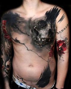 Male Chest & Arm Tattoo: Black & Red, skull & barbed wire