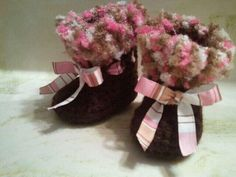 cool!  Crocheted Baby Boots with the Fur Collection. $12.00, via Etsy.
