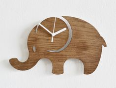 Elephant Kids Cartoon Silhouette - Wooden Wall Clock (24.90 USD) by SolPixieDust