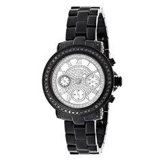 Mens Ladies Diamond Watches: Luxurman Black Diamond Watch