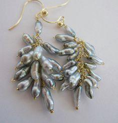 "14K & 18K Solid Gold~ AAA Tahitian Keshi Pearl ""cluster"" earrings"