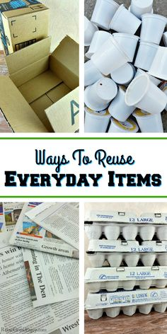 We all have things that end up in the trash around the house. But I am going to share loads of ideas for ways to reuse everyday items. Not only is a great way to cut down on trash, it also helps save you money as well. Reduce Reuse Recycle, Ways To Recycle, Diy Recycle, Reuse Things, Repurposed Items, Upcycled Crafts, Repurposed Furniture, Recycled House, Everyday Items