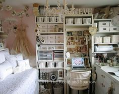 Love this creative space. Really love the vintage dress on the wall.