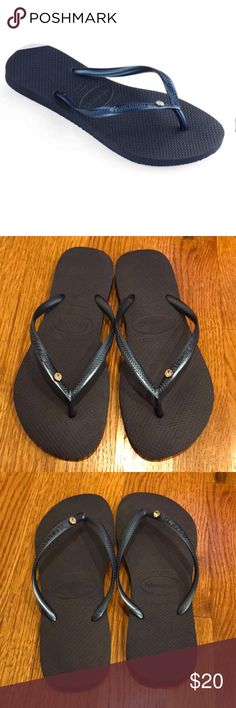 36130505b Havaianas Slim Crystal Glamour Navy Flip Flops 7 8 A sparkling crystal  accent provides a