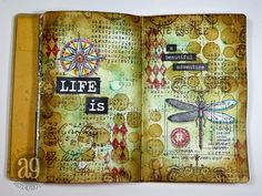 Annette's Creative Journey: 12 Tags of 2015 - My April Journal Pages using Tim Holtz, Ranger, Idea-ology, Sizzix and Stamper's Anonymous products; Apr 2015