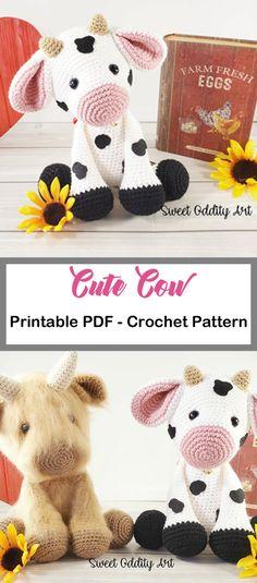 cute cow toy- cow crochet pattern- - amigurumi amorecraftylife.com #crochet #crochetpattern #diy