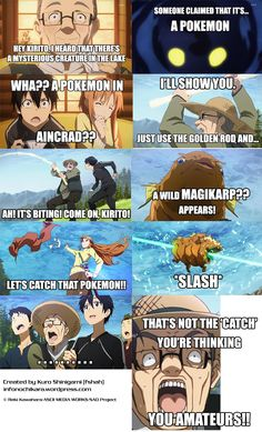 sword art online funny | Register Help Login  >> his face at the end reminded me of zoro yelling BAAAKAAA! For some reason XD