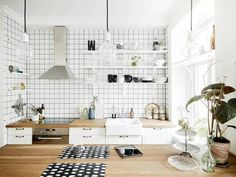 Ideas for kitchen tiles scandinavian home Kitchen Dinning, Kitchen Tiles, Kitchen Decor, Floors Kitchen, Kitchen Worktop, Kitchen Island, Dining Room, Swedish House, Swedish Style